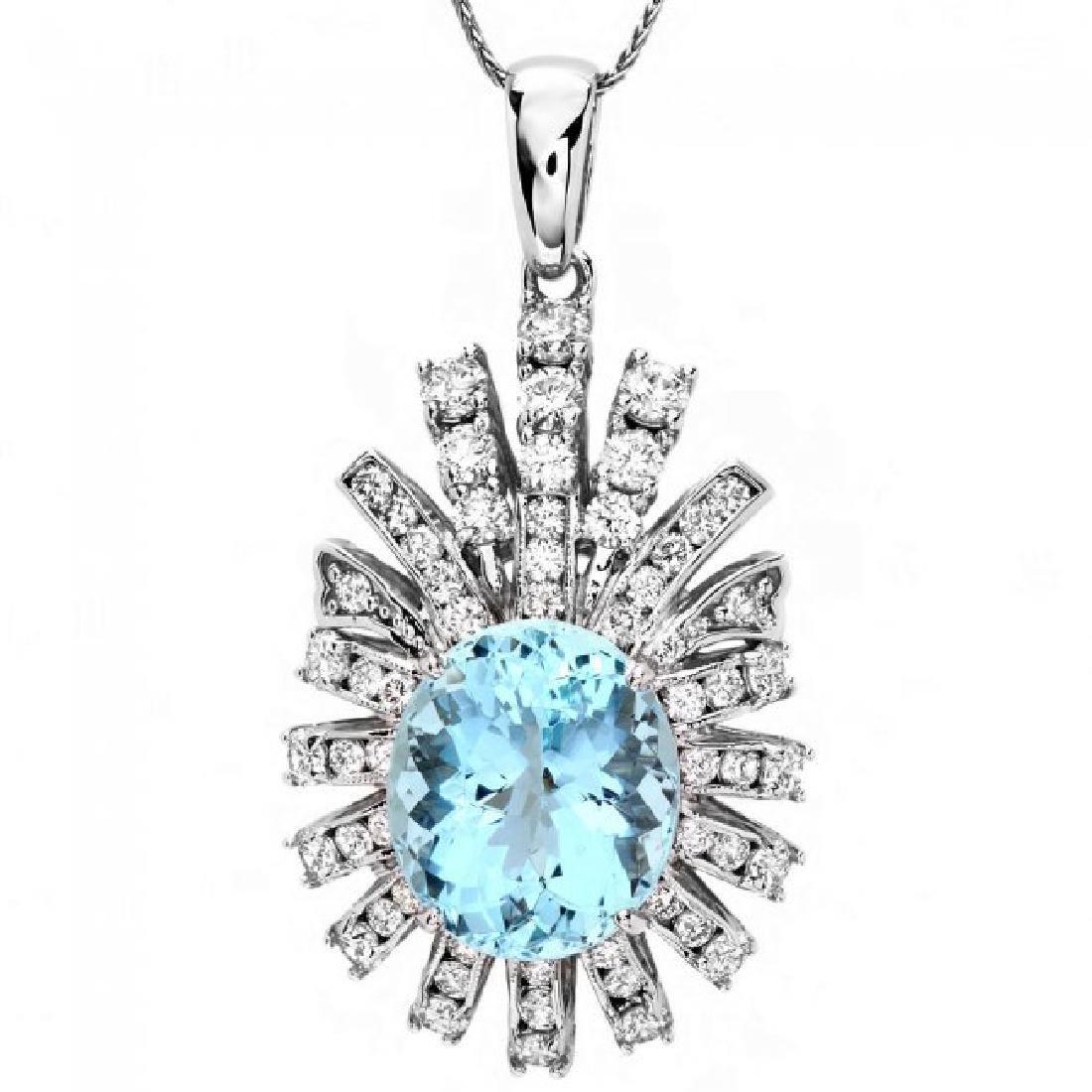 14k Gold 8ct Aquamarine 2.50ct Diamond Pendant - 2