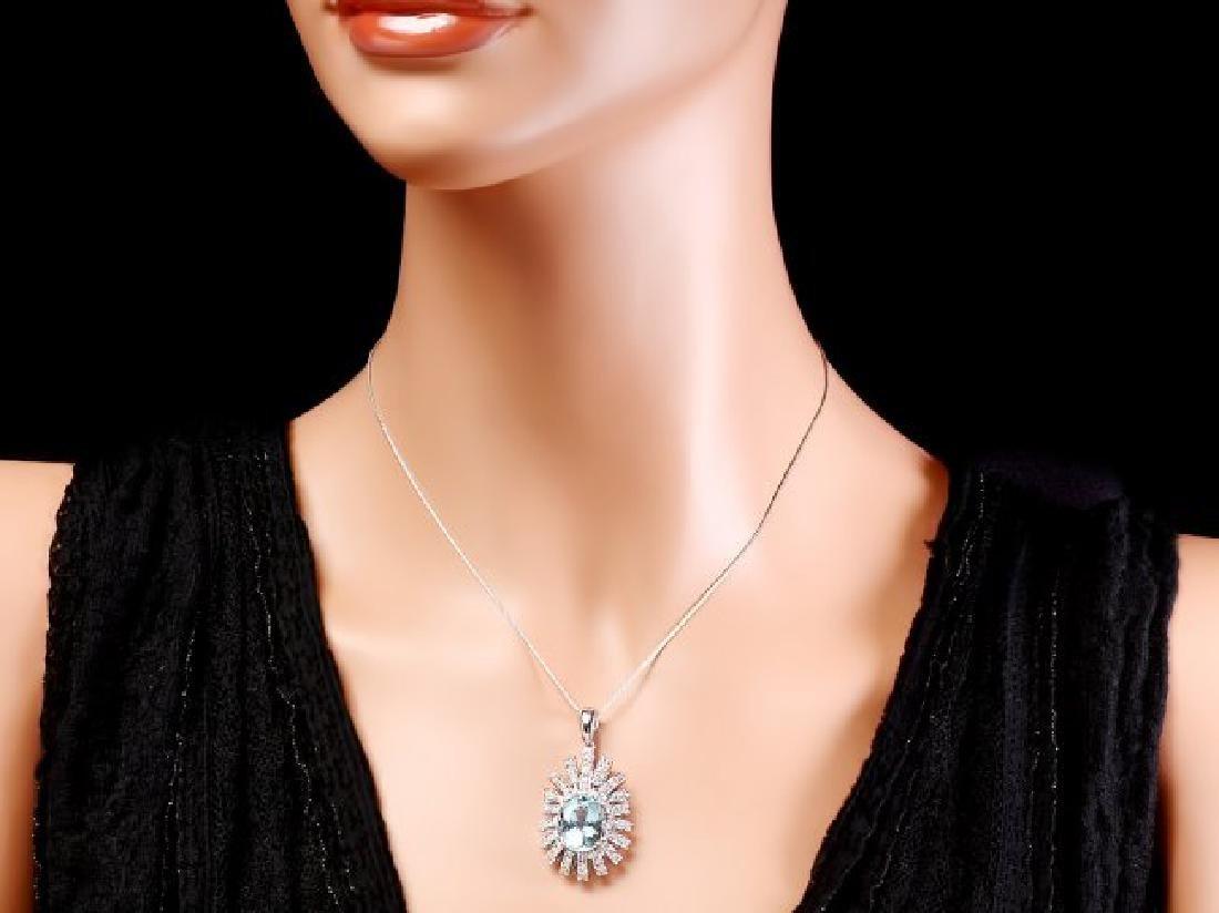 14k Gold 8ct Aquamarine 2.50ct Diamond Pendant - 3