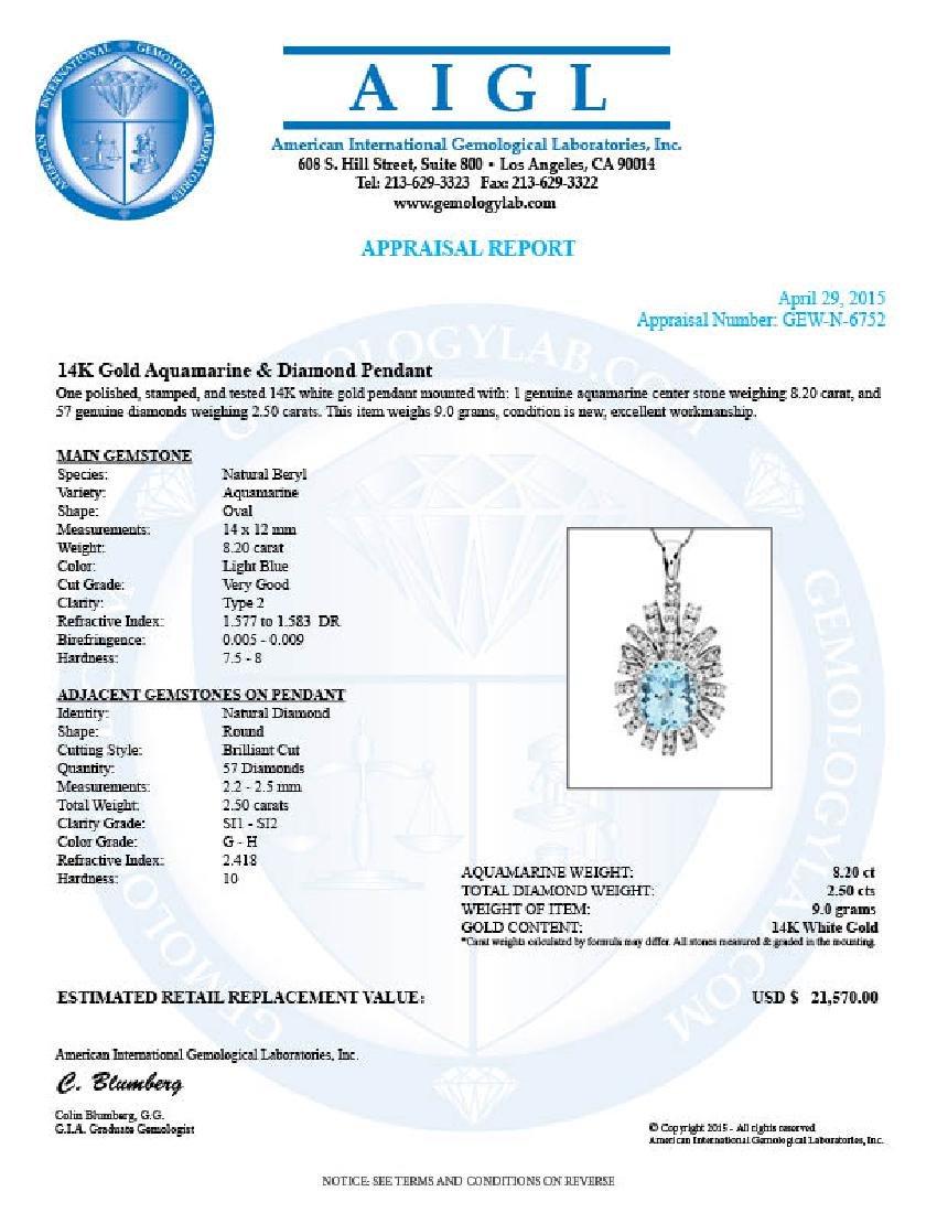 14k Gold 8ct Aquamarine 2.50ct Diamond Pendant - 4