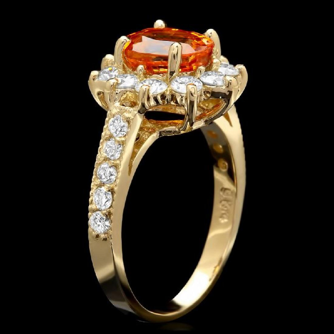14k Yellow Gold 2.40ct Garnet 1ct Diamond Ring - 2