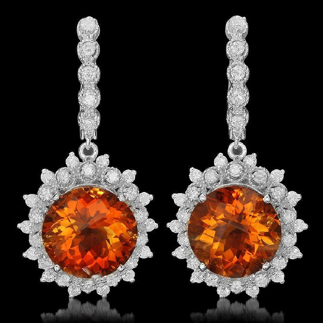 14K Gold 12.71ct Citrine 2.08ct Diamond Earrings