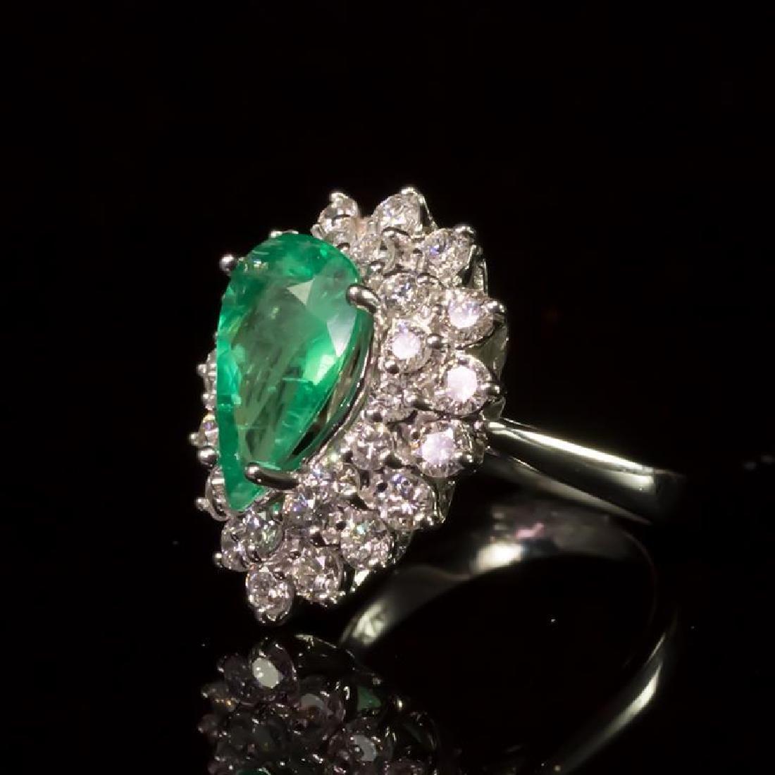 14K Gold 2.05ct Emerald 1.70ct Diamond Ring - 2