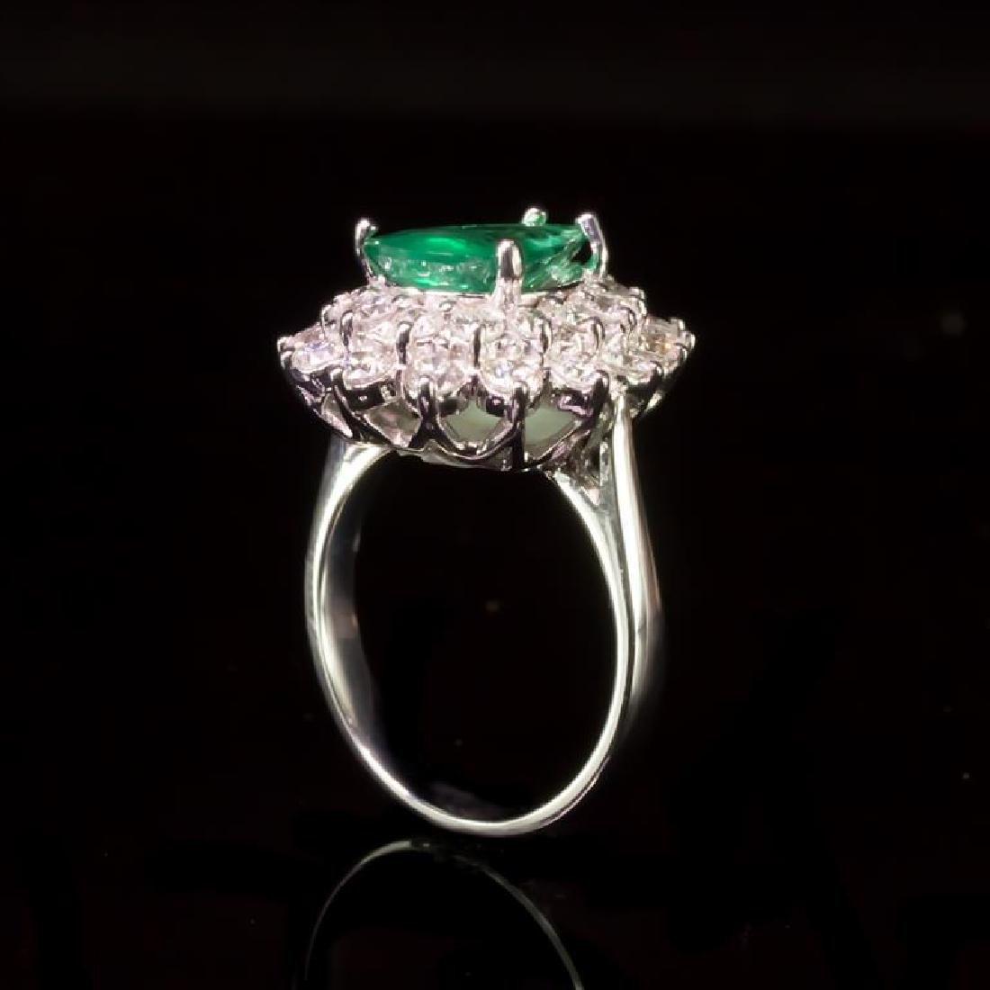 14K Gold 2.05ct Emerald 1.70ct Diamond Ring - 3