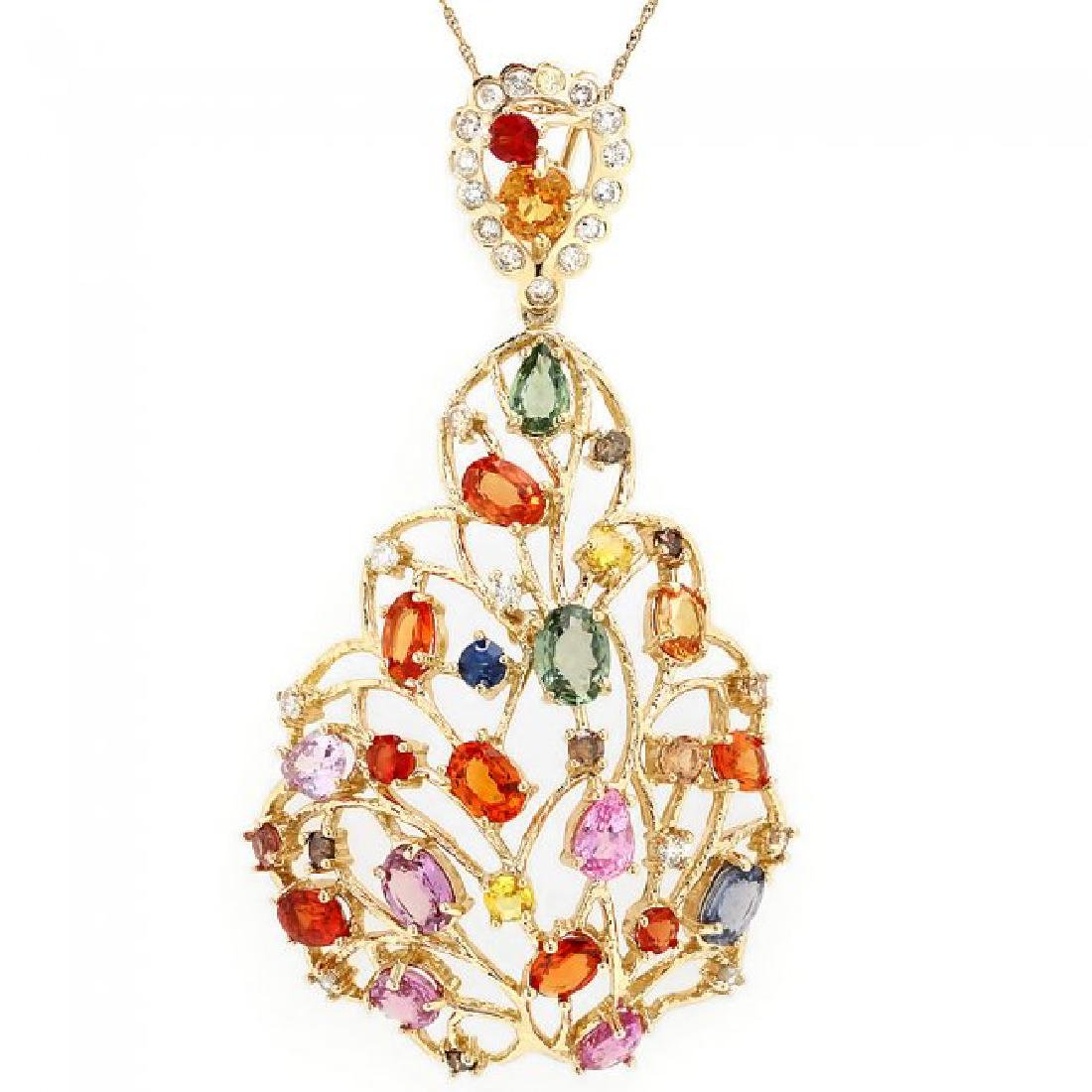 14k Gold 11ct Sapphire 1.20ct Diamond Pendant - 2