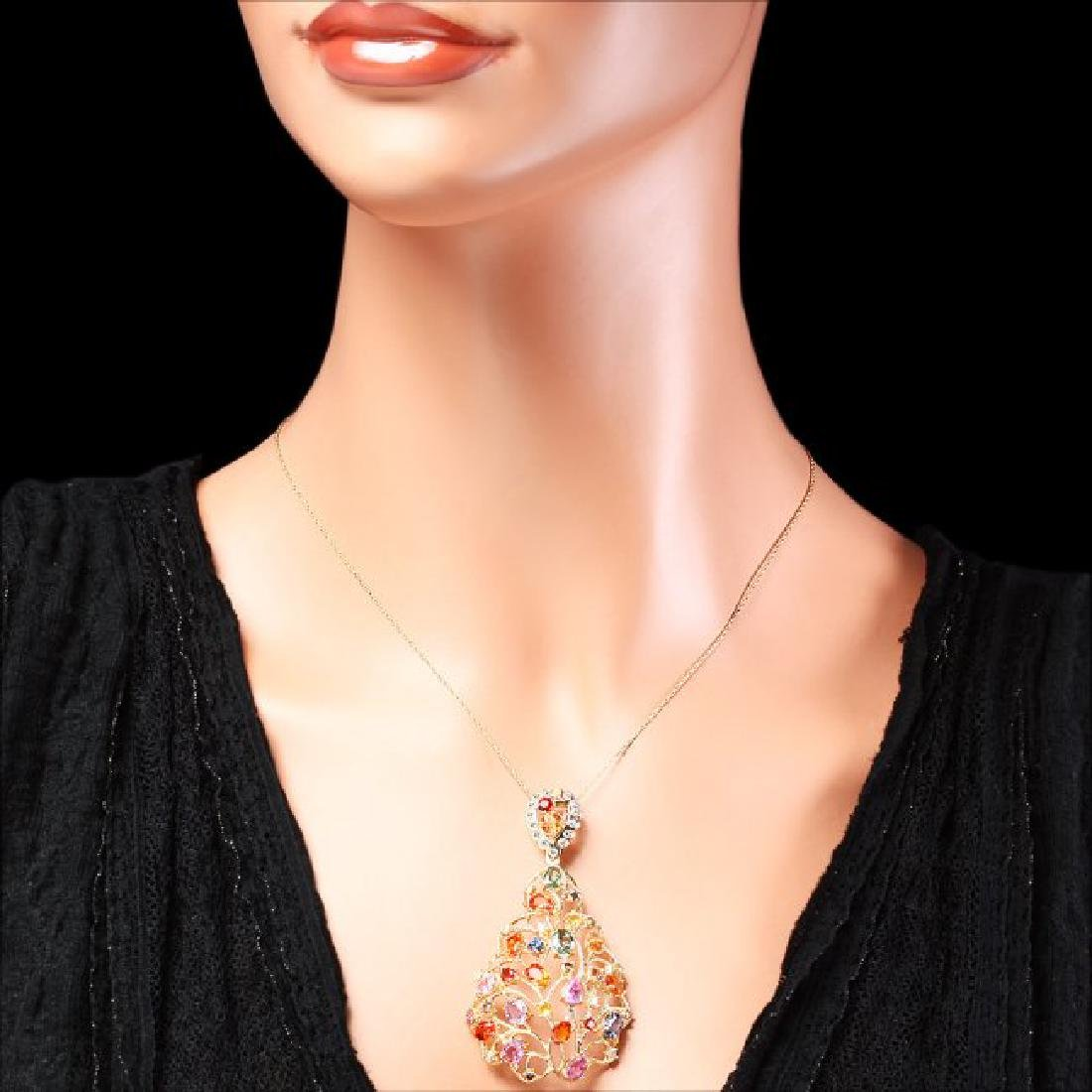 14k Gold 11ct Sapphire 1.20ct Diamond Pendant - 3
