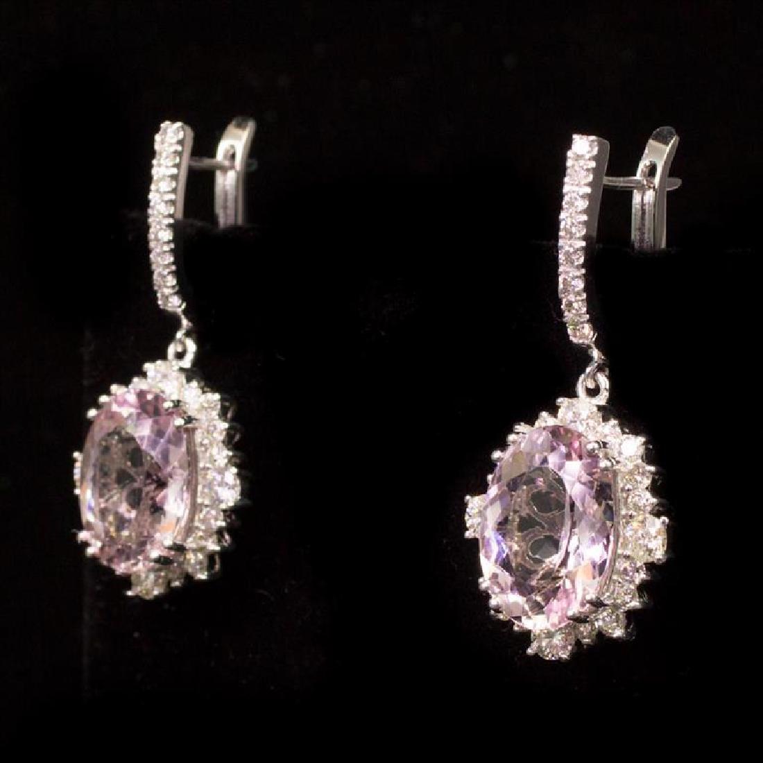 14K Gold 8.95ct Morganite 2.65ct Diamond Earrings - 2