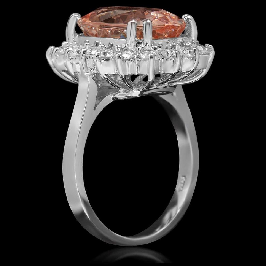 14K Gold 6.23ct Morganite 1.16ct Diamond Ring - 2