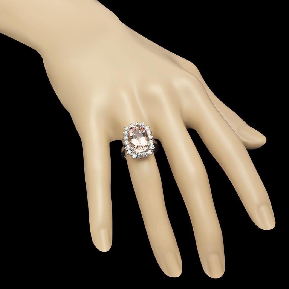 14K Gold 6.23ct Morganite 1.16ct Diamond Ring - 3