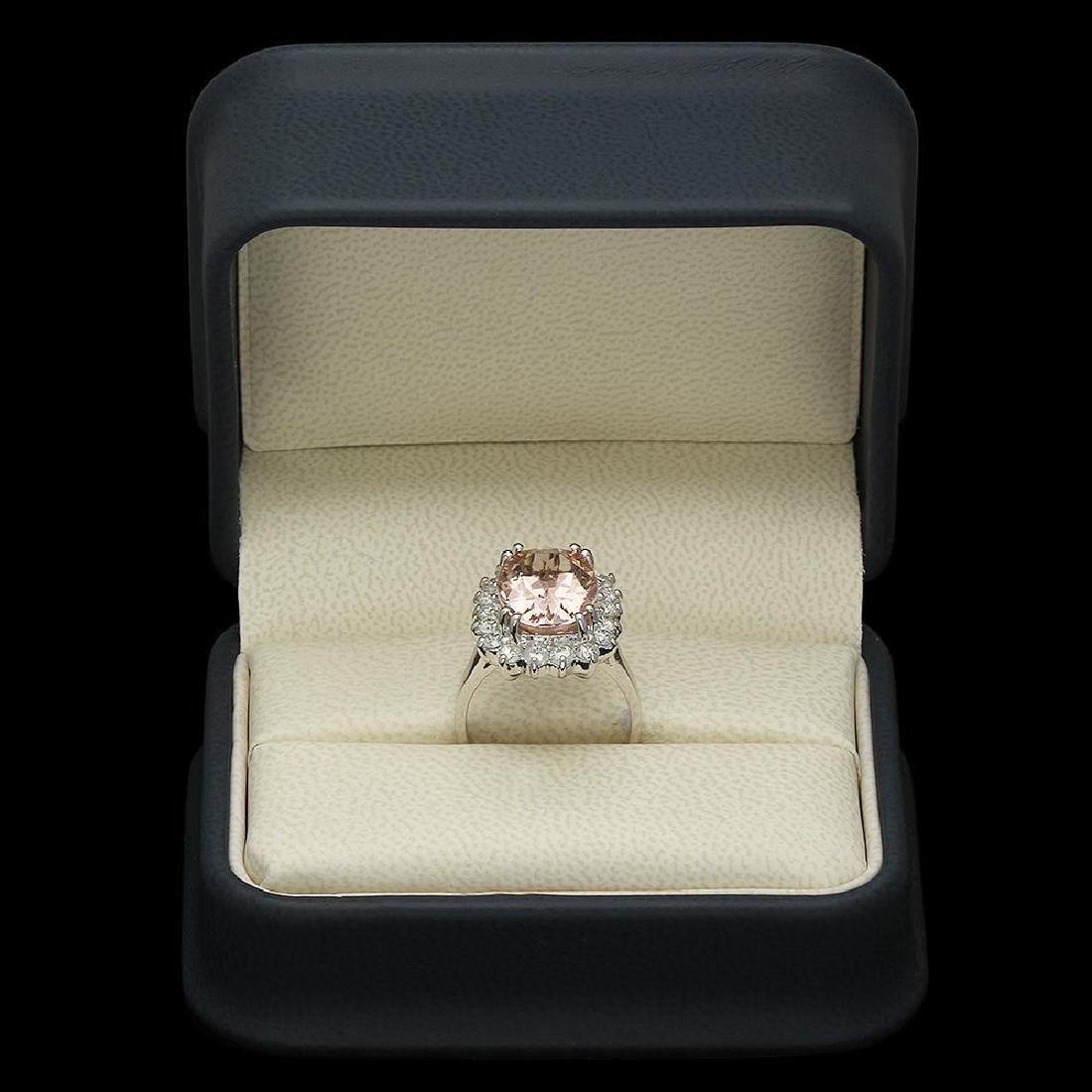 14K Gold 6.23ct Morganite 1.16ct Diamond Ring - 4