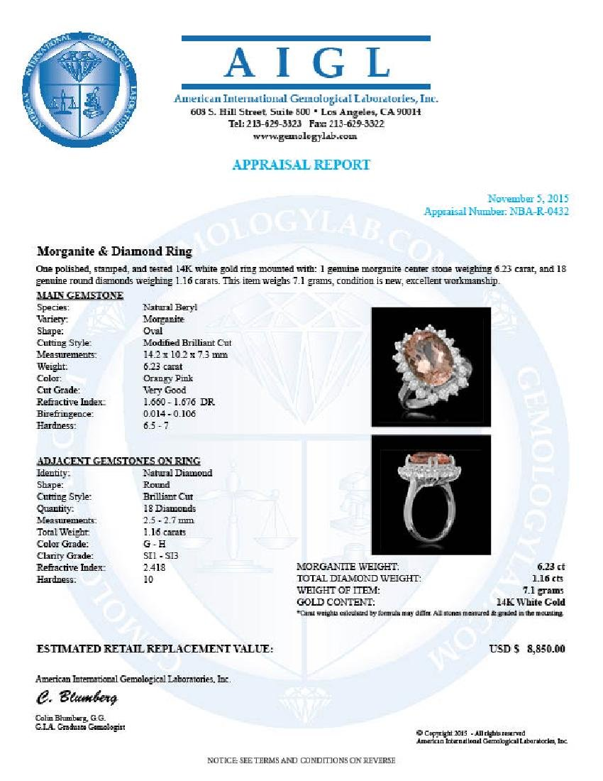 14K Gold 6.23ct Morganite 1.16ct Diamond Ring - 5