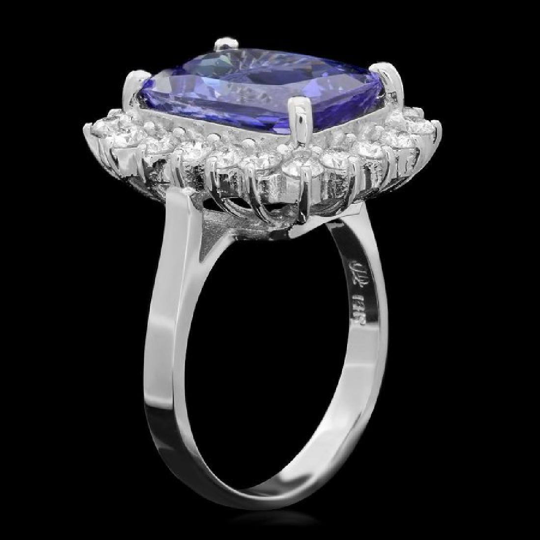 18k Gold 7.00ct Tanzanite 1.10ct Diamond Ring - 2