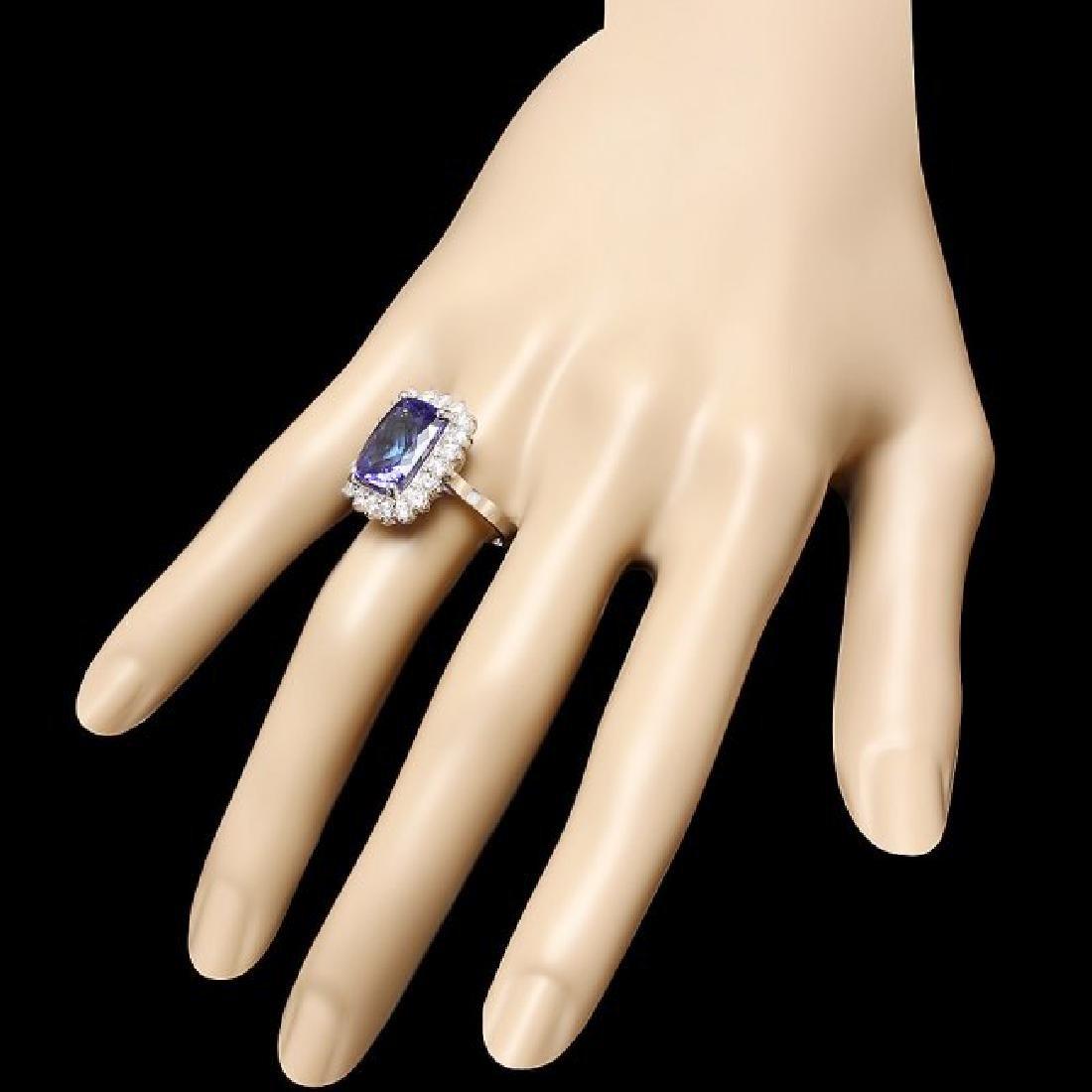18k Gold 7.00ct Tanzanite 1.10ct Diamond Ring - 3