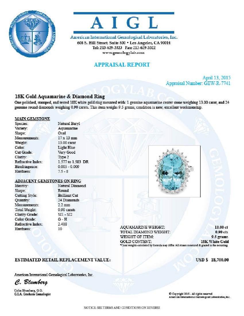 18k Gold 13ct Aquamarine 0.90ct Diamond Ring - 5
