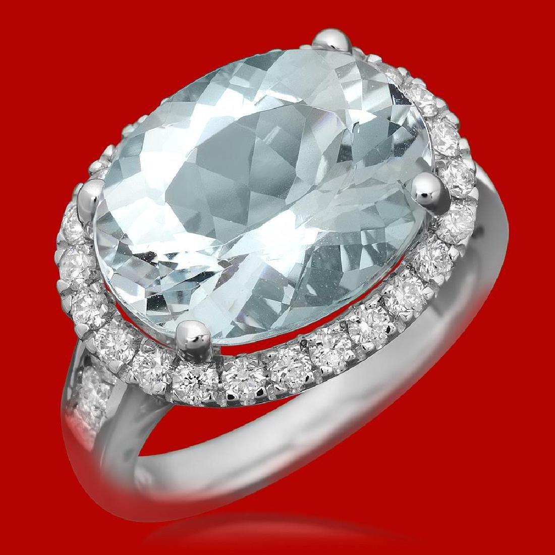 14k Gold 7.34ct Aquamarine 0.85ct Diamond Ring
