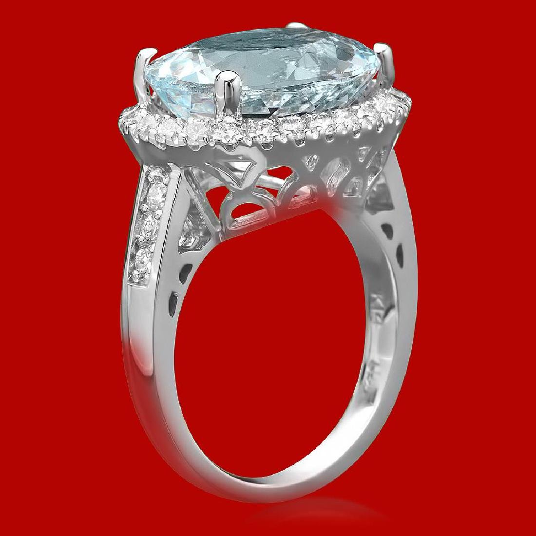 14k Gold 7.34ct Aquamarine 0.85ct Diamond Ring - 2