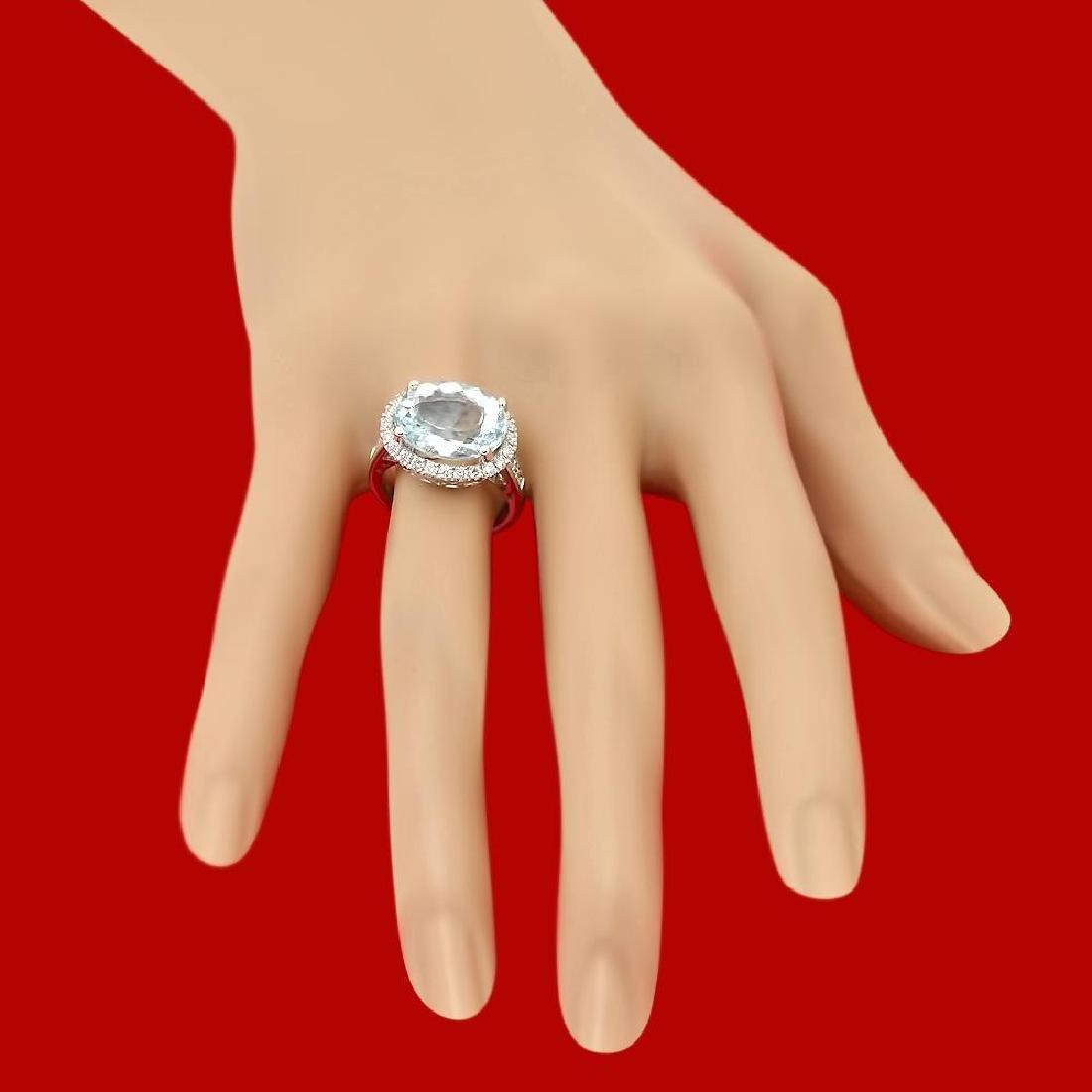 14k Gold 7.34ct Aquamarine 0.85ct Diamond Ring - 3
