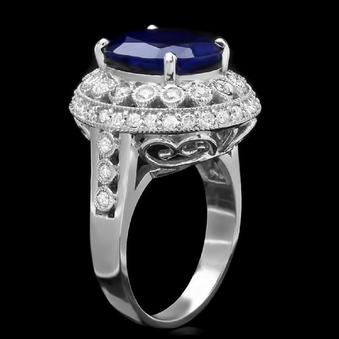 14k Gold 5.20ct Sapphire 0.85ct Diamond Ring - 2