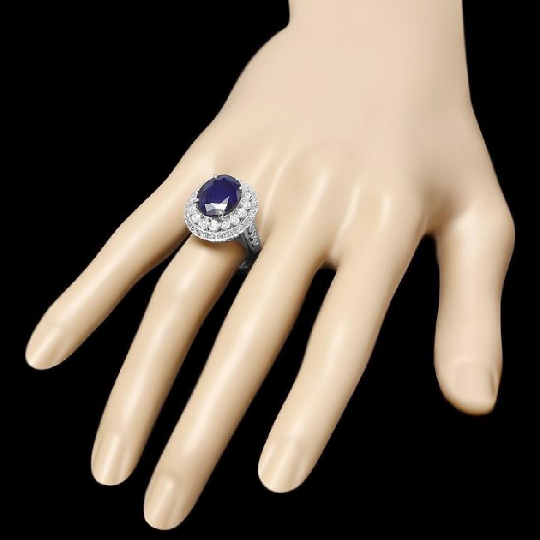 14k Gold 5.20ct Sapphire 0.85ct Diamond Ring - 3