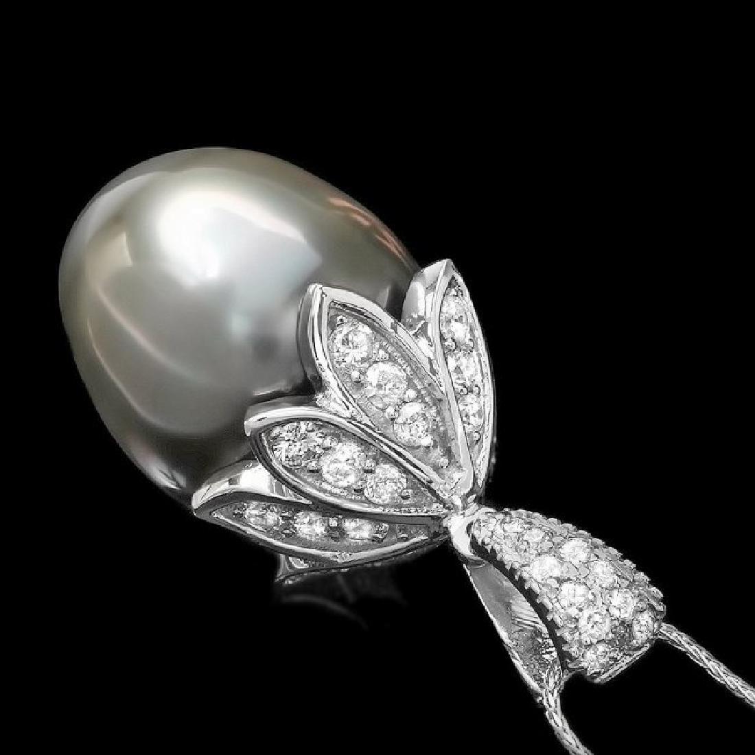 14k Gold 16 X 20mm Pearl 1.30ct Diamond Pendant