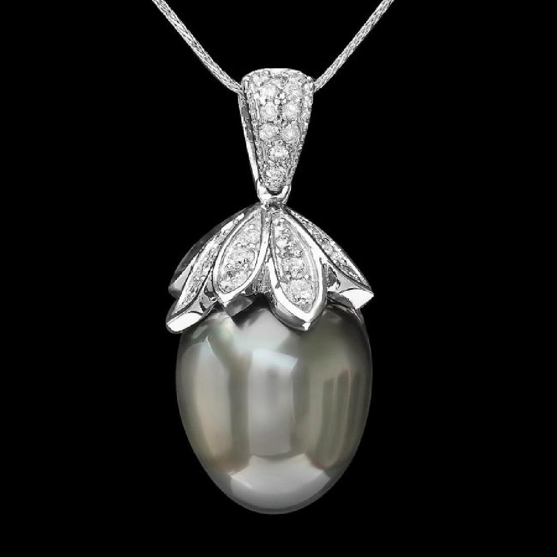 14k Gold 16 X 20mm Pearl 1.30ct Diamond Pendant - 2