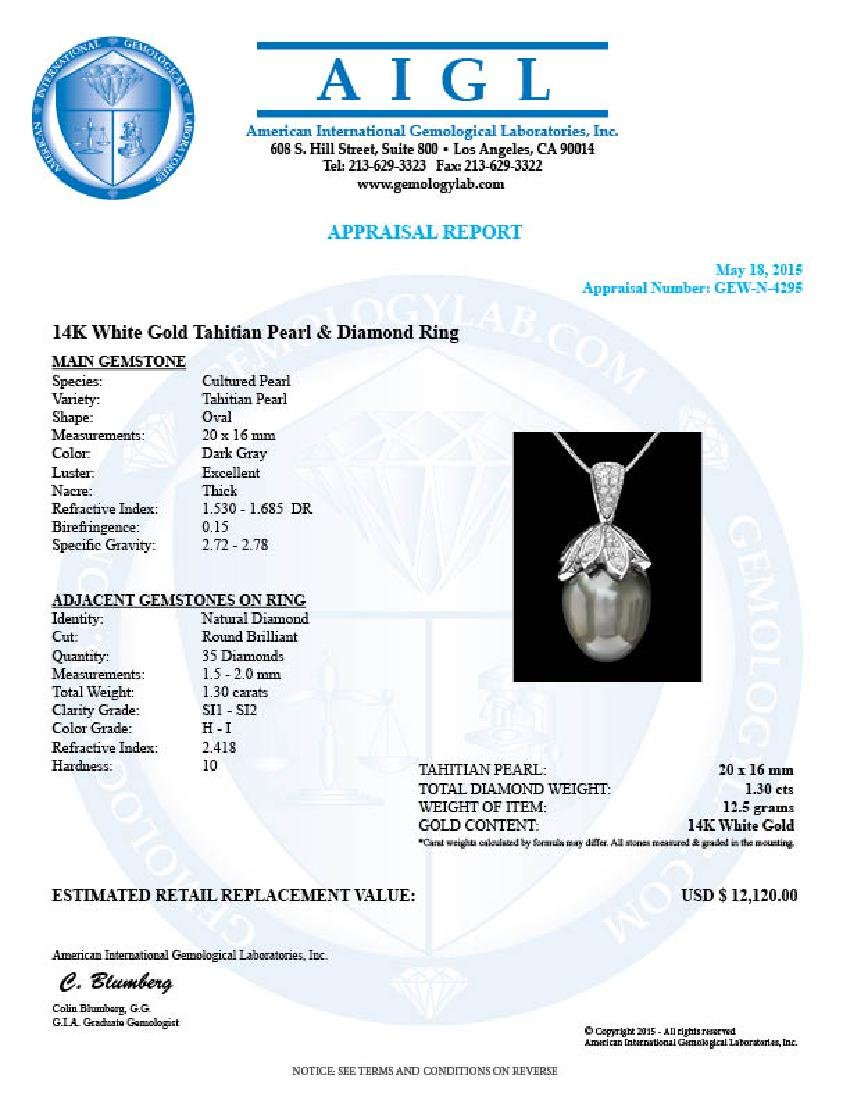 14k Gold 16 X 20mm Pearl 1.30ct Diamond Pendant - 3