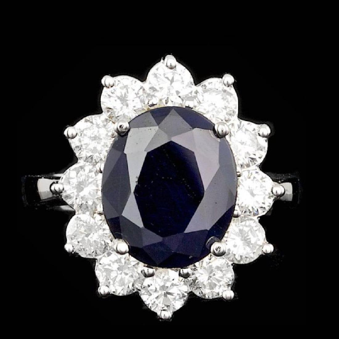 14k Gold 5.00ct Sapphire 2.50ct Diamond Ring