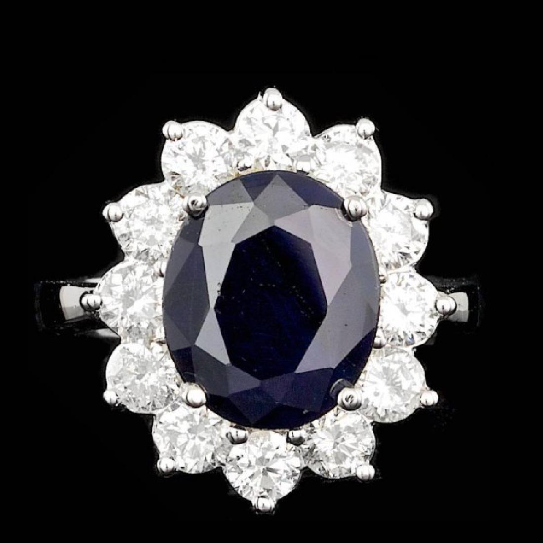 14k Gold 5.00ct Sapphire 2.50ct Diamond Ring