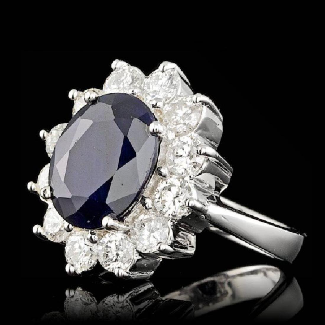 14k Gold 5.00ct Sapphire 2.50ct Diamond Ring - 2