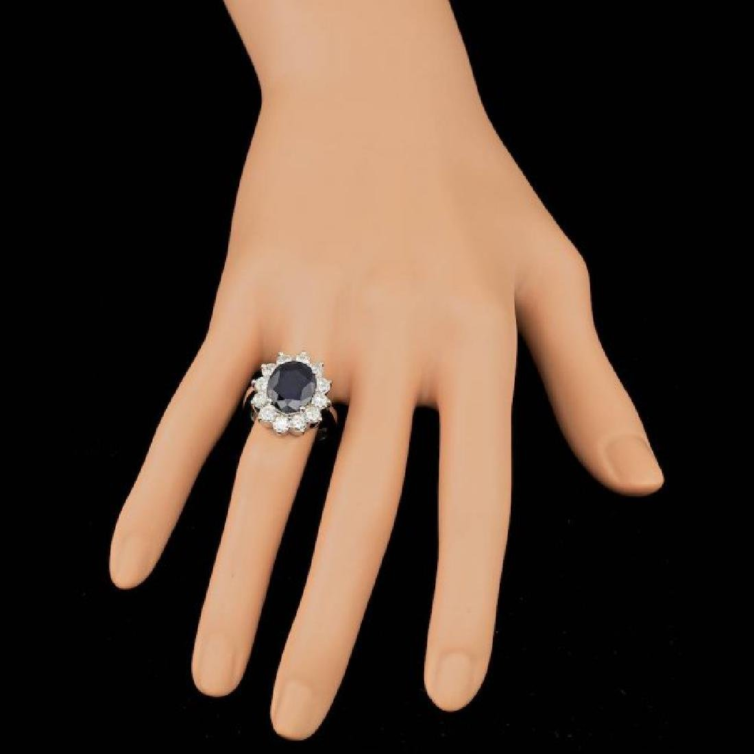 14k Gold 5.00ct Sapphire 2.50ct Diamond Ring - 3