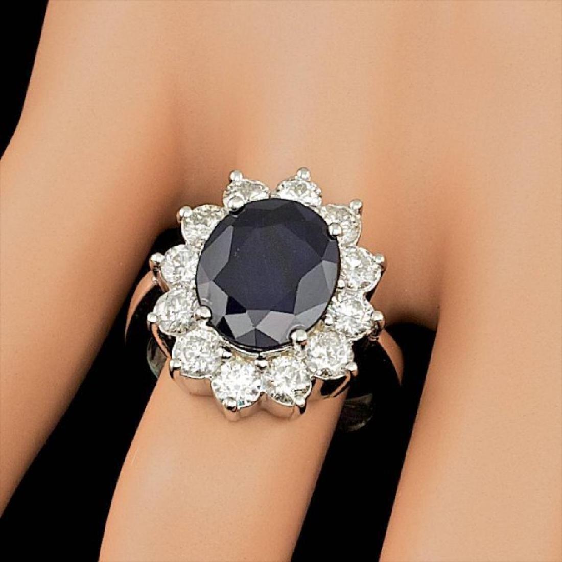 14k Gold 5.00ct Sapphire 2.50ct Diamond Ring - 4