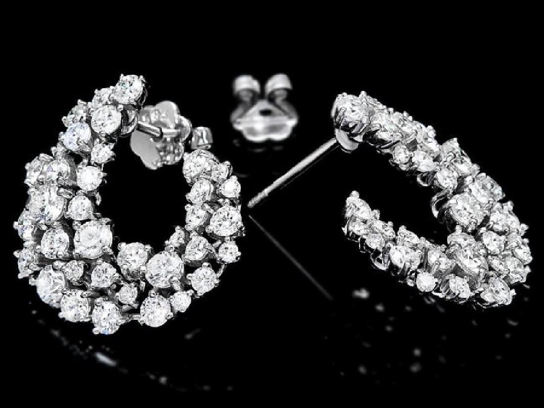 14k White Gold 4.40ct Diamond Earrings - 2