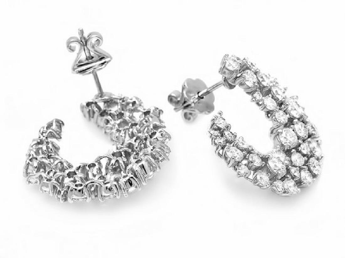 14k White Gold 4.40ct Diamond Earrings - 3
