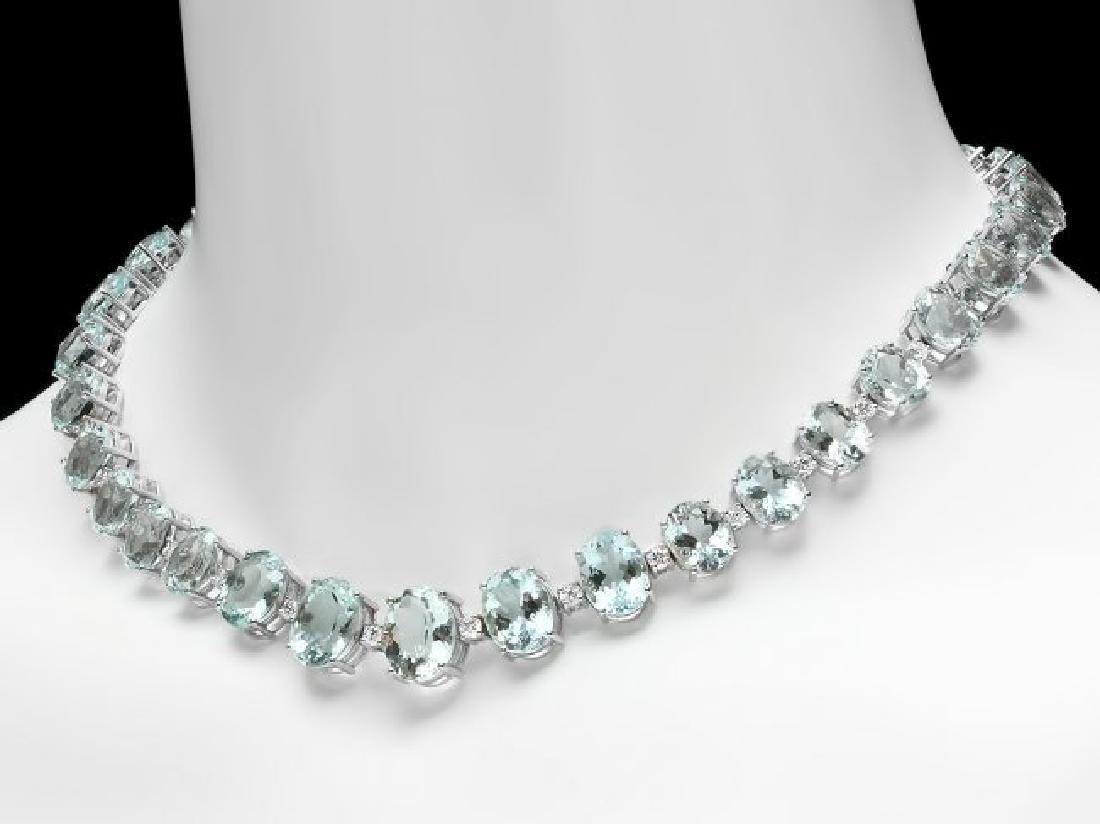 14k Gold 95ct Aquamarine 1.55ct Diamond Necklace - 2