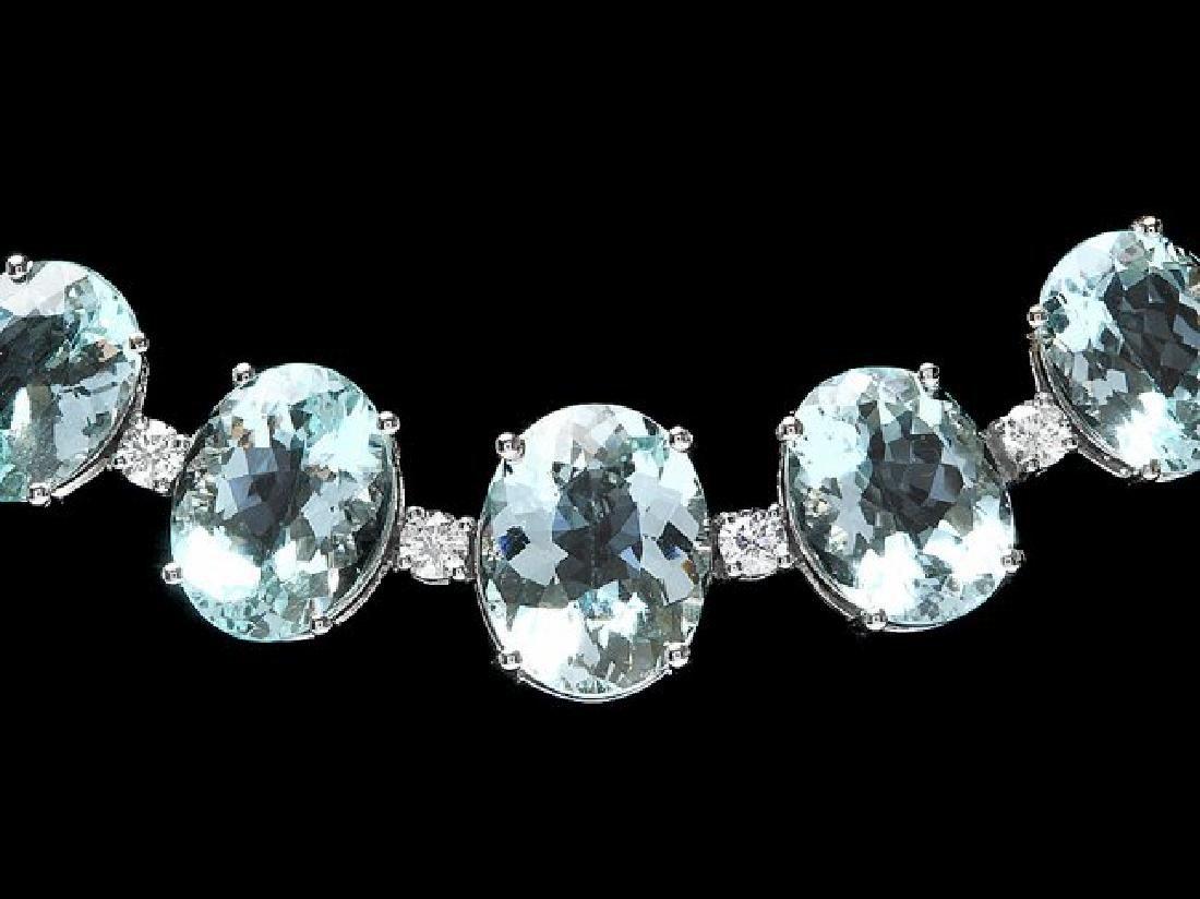 14k Gold 95ct Aquamarine 1.55ct Diamond Necklace - 3