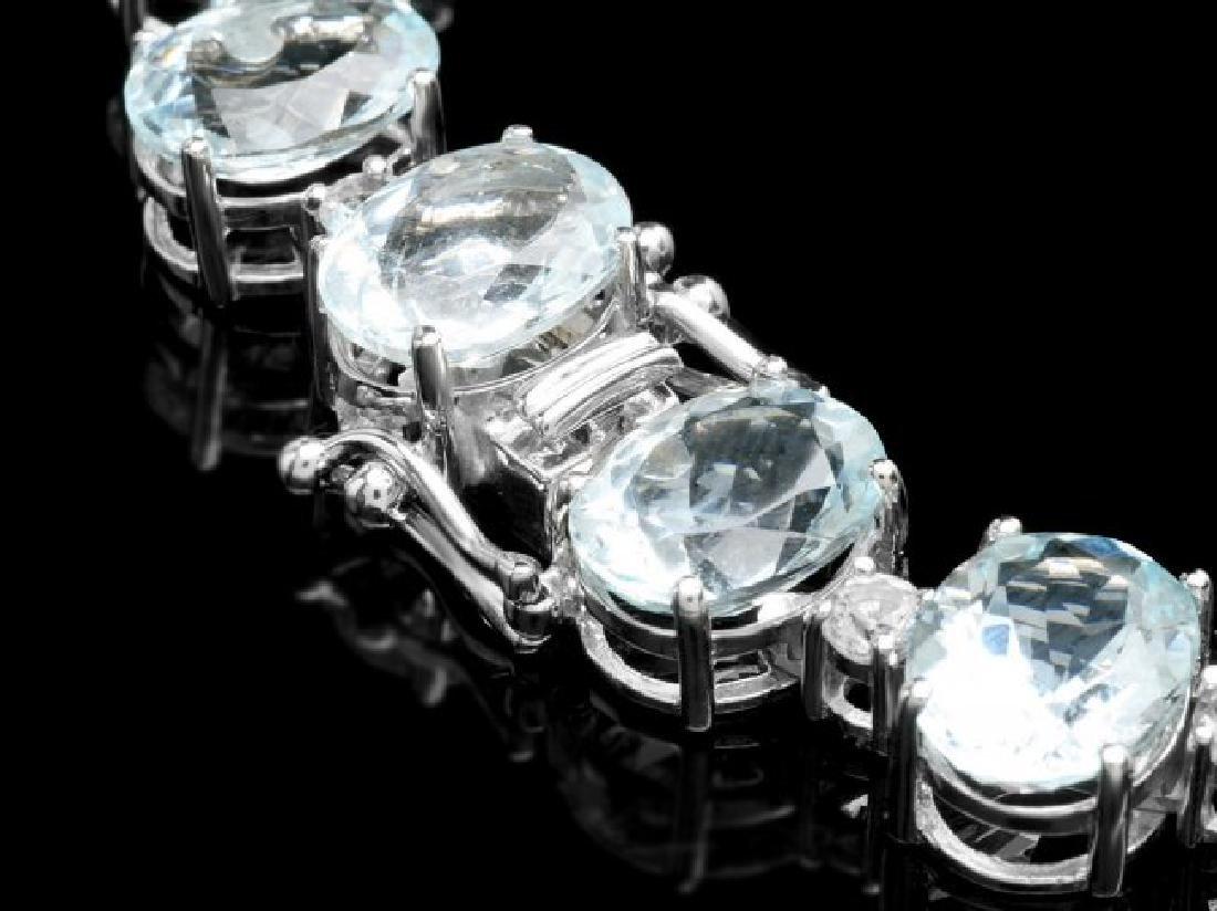 14k Gold 95ct Aquamarine 1.55ct Diamond Necklace - 5