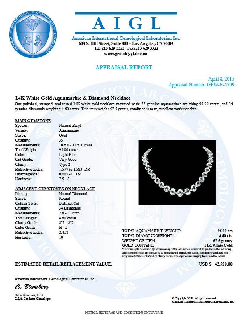 14k Gold 95ct Aquamarine 1.55ct Diamond Necklace - 6