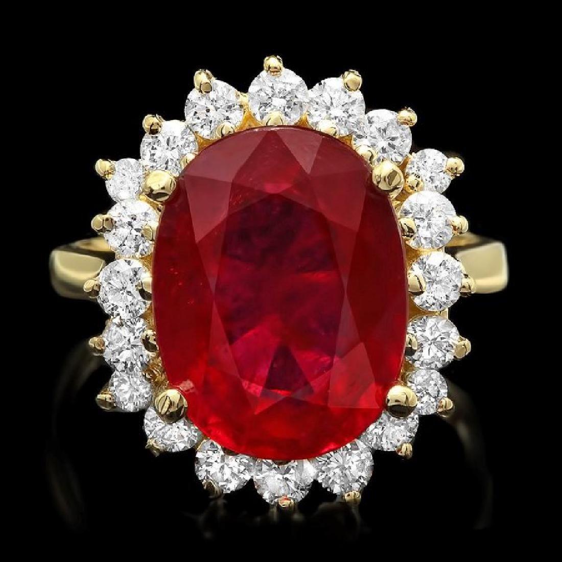 14k Yellow Gold 7.50ct Ruby 1.00ct Diamond Ring