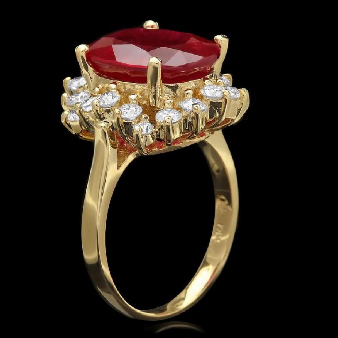 14k Yellow Gold 7.50ct Ruby 1.00ct Diamond Ring - 2