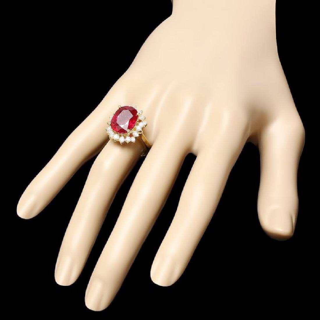 14k Yellow Gold 7.50ct Ruby 1.00ct Diamond Ring - 3