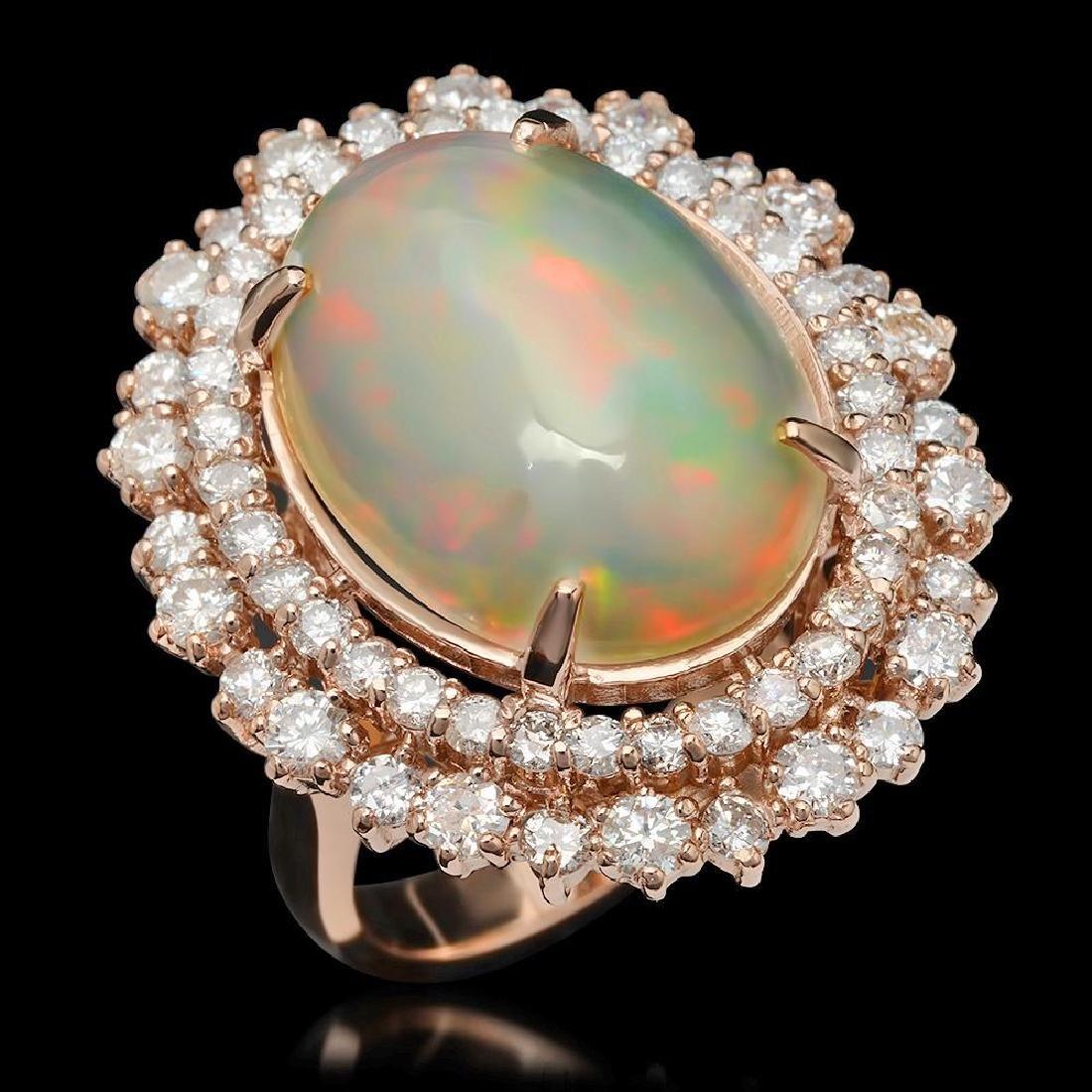 14K Gold 7.38ct Opal & 2.12ct Diamond Ring