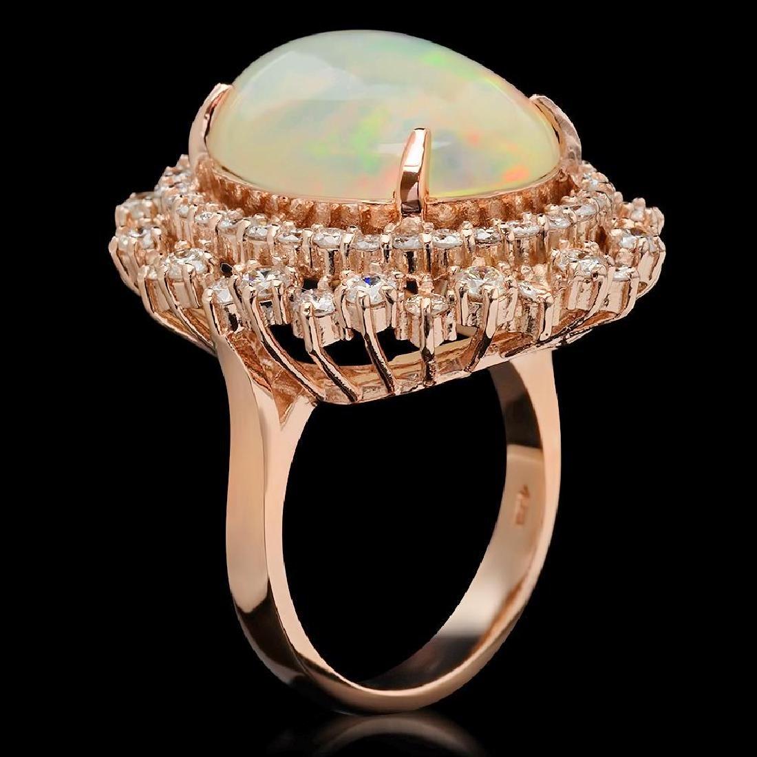 14K Gold 7.38ct Opal & 2.12ct Diamond Ring - 2