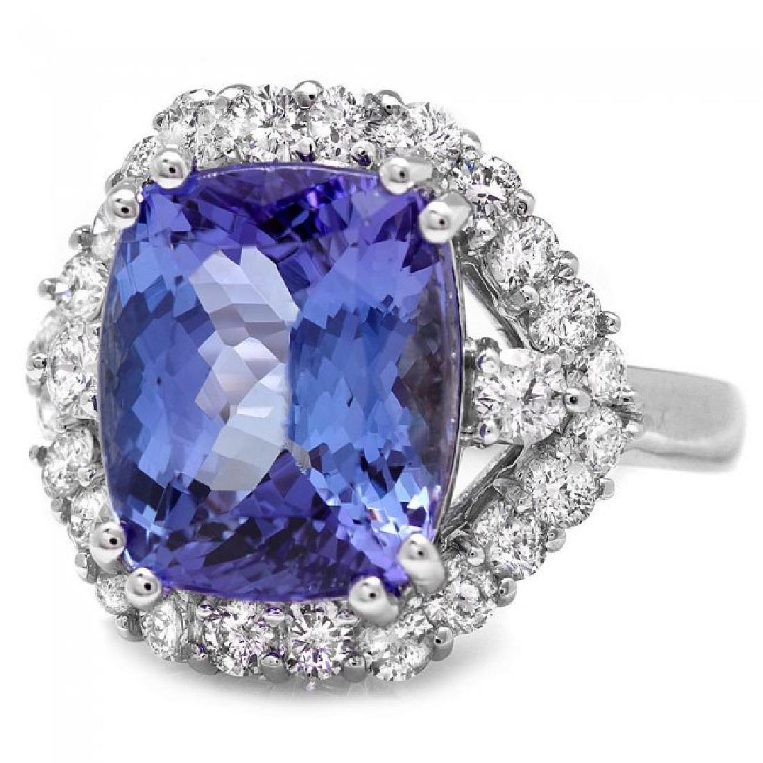 14k Gold 6.00ct Tanzanite 1.20ct Diamond Ring - 2