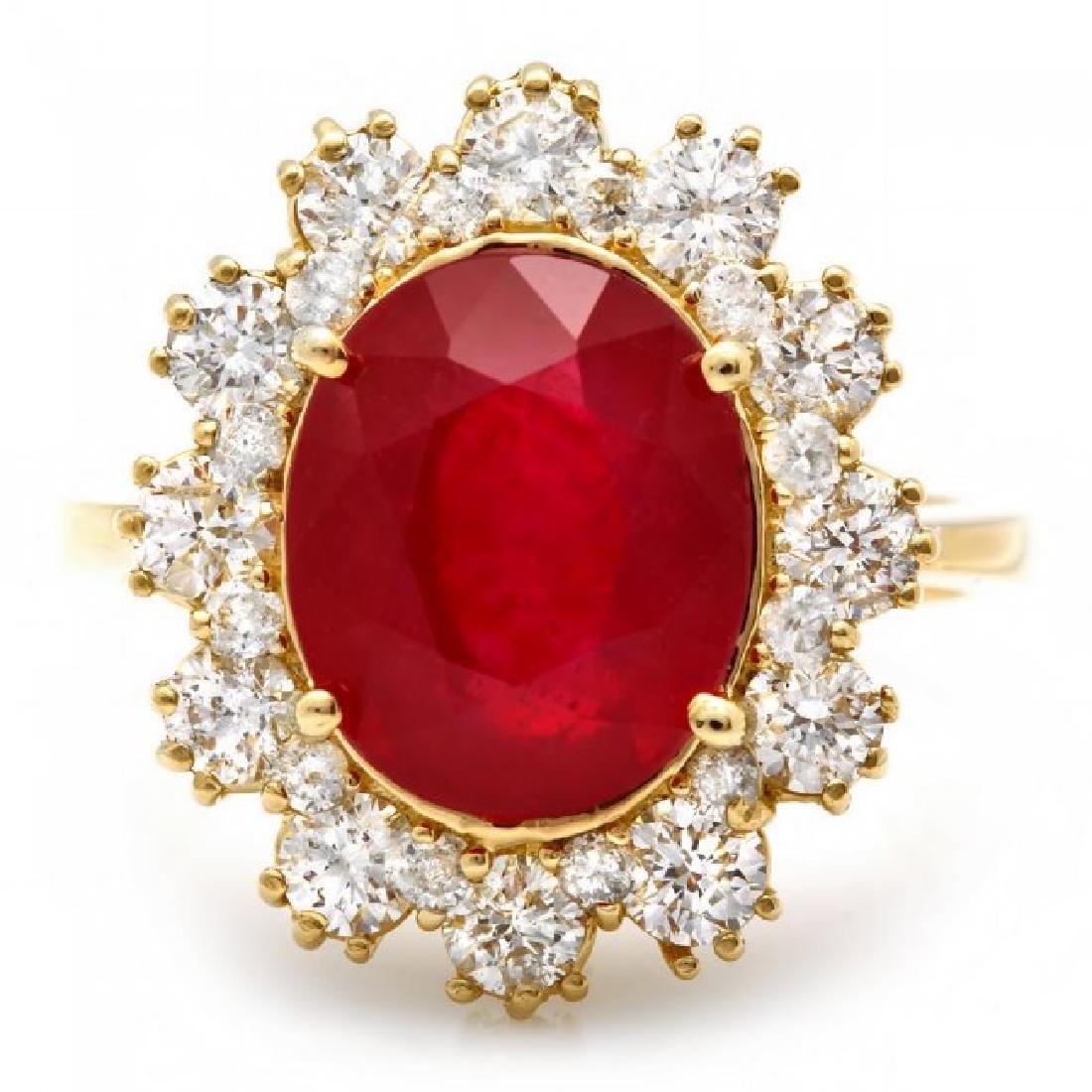 14k Yellow Gold 5.50ct Ruby 1.30ct Diamond Ring - 2