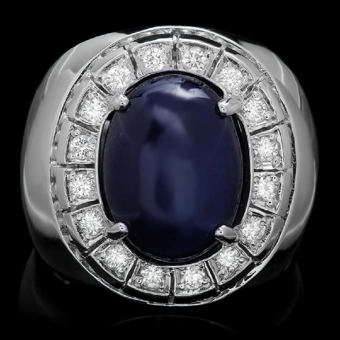 14k 15.00ct Sapphire 0.50ct Diamond Mens Ring