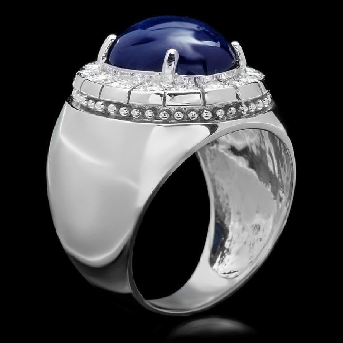 14k 15.00ct Sapphire 0.50ct Diamond Mens Ring - 2