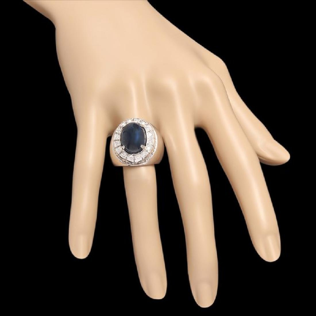 14k 15.00ct Sapphire 0.50ct Diamond Mens Ring - 3