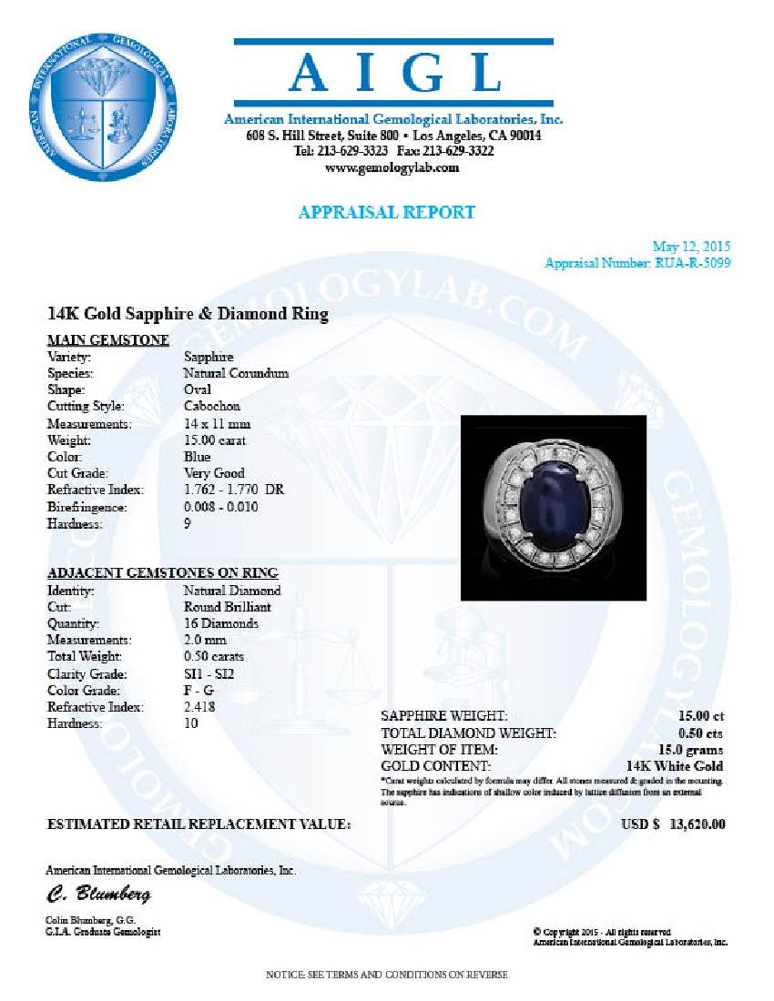 14k 15.00ct Sapphire 0.50ct Diamond Mens Ring - 4