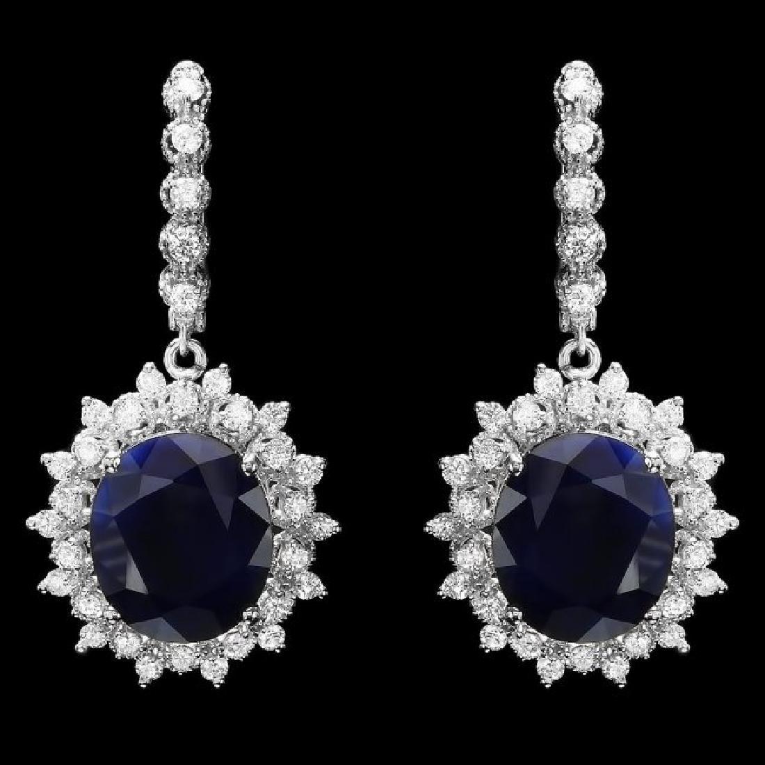 14k Gold 17ct Sapphire 1.80ct Diamond Earrings