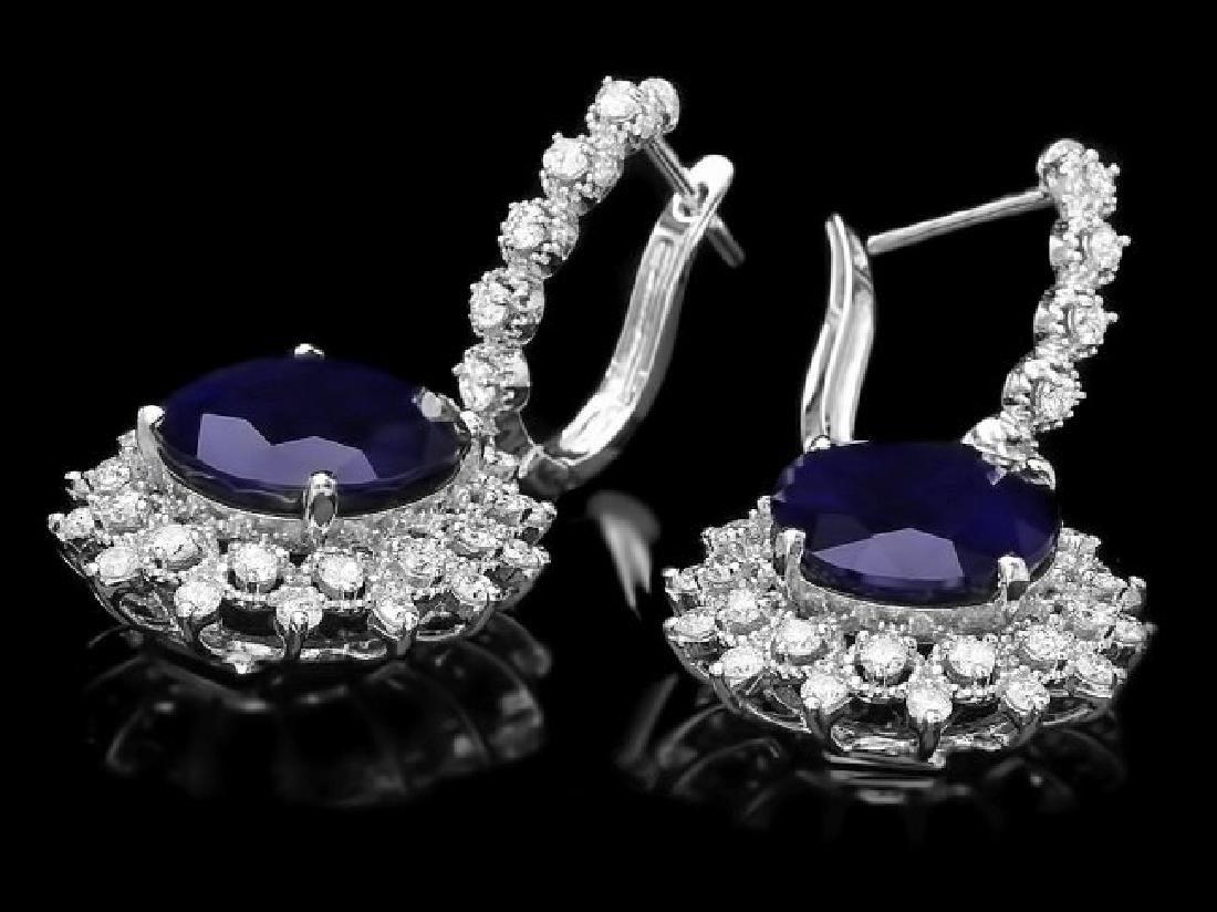 14k Gold 17ct Sapphire 1.80ct Diamond Earrings - 2