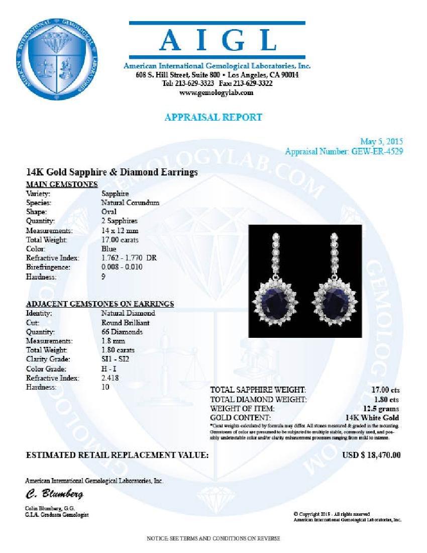 14k Gold 17ct Sapphire 1.80ct Diamond Earrings - 3